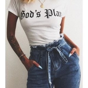 ❤️💜High Waist Retro Denim Tie up Jeans
